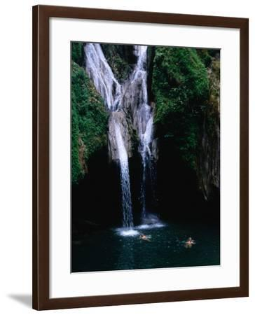 Swimmers at Salto Del Caburni Waterfall, Sierra Del Escambray, Topes De Collantes, Cuba-Shannon Nace-Framed Photographic Print