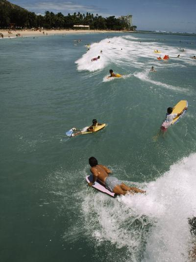 Swimmers on Boogie Boards in the Gentle Surf of Waikiki-Paul Chesley-Photographic Print