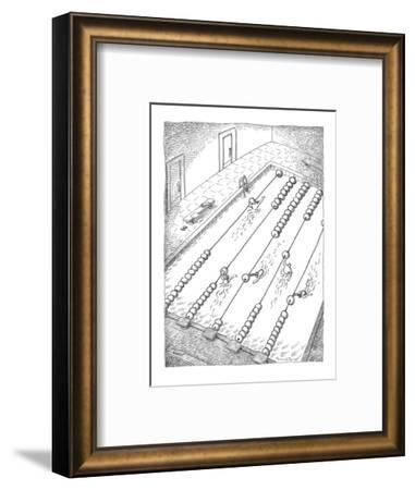 Swimmers turn lane dividers in swimming pool into an abacus. - New Yorker Cartoon-John O'brien-Framed Premium Giclee Print