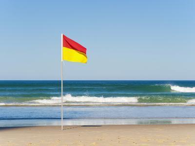 Swimming Flag for Satefy at Surfers Paradise Beach, Gold Coast, Queensland, Australia, Pacific-Matthew Williams-Ellis-Photographic Print
