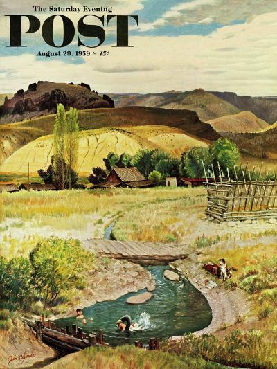 """""""Swimming in the Creek"""" Saturday Evening Post Cover, August 29, 1959-John Clymer-Giclee Print"""