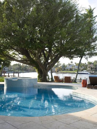 Swimming Pool with Tree and View to River-Stacy Bass-Photo