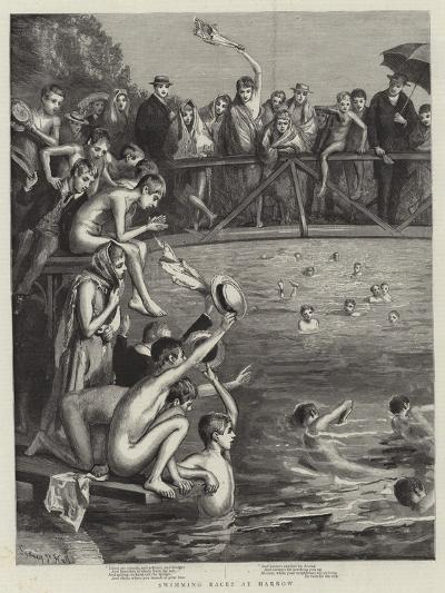 Swimming Races at Harrow-Sydney Prior Hall-Giclee Print