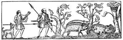 Swine Hunting, 9th Century--Giclee Print
