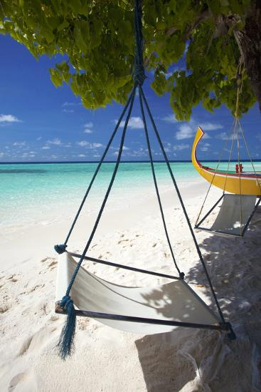 Swing and Traditional Boat on Tropical Beach, Maldives, Indian Ocean, Asia-Sakis Papadopoulos-Photographic Print