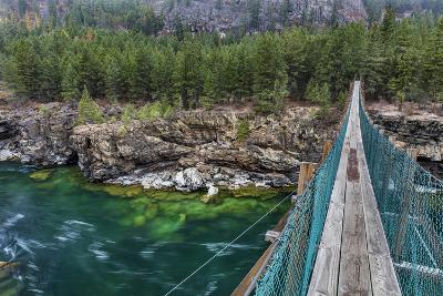 Swing Bridge over the Kootenai River Near Libby, Montana, Usa-Chuck Haney-Photographic Print