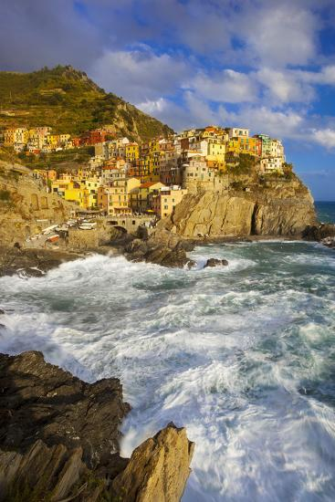 Swirling Ocean at the Foot of Manarola in the Cinque Terre, Liguria Italy-Brian Jannsen-Photographic Print