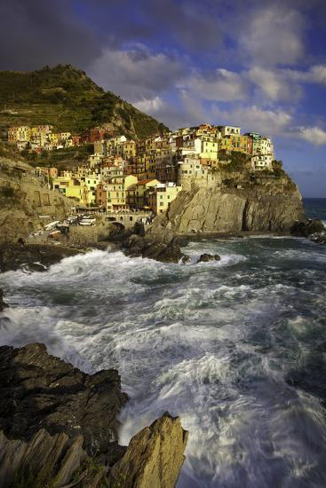 Swirling Ocean at the Foot of Medieval Town of Manarola in the Cinque Terre, Liguria Italy-Brian Jannsen-Photographic Print