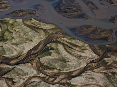 Swirling Patterns of River Runoff Mingling with Coastal Sands-Michael Polzia-Photographic Print