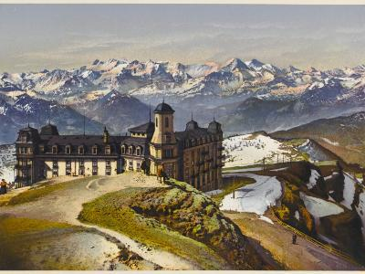 Swiss Alps: on the Rigi Summit, with the Bernese Alps in the Distance--Photographic Print