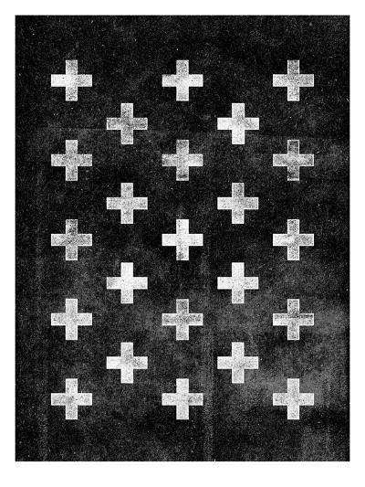 Swiss Cross Pattern BLACK-Brett Wilson-Art Print