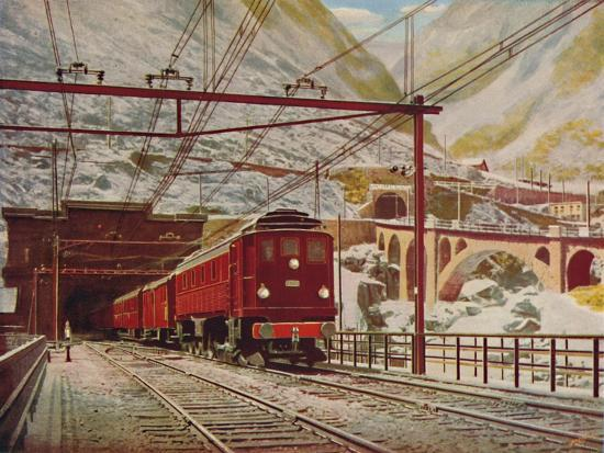 'Swiss Express Leaving The Great St. Gotthard Tunnel', 1926-Unknown-Giclee Print