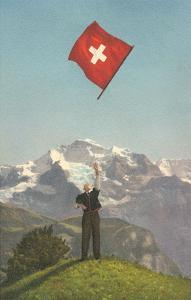 Swiss Flag Above Alps