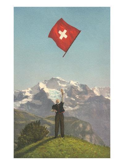 Swiss Flag Above Alps--Art Print