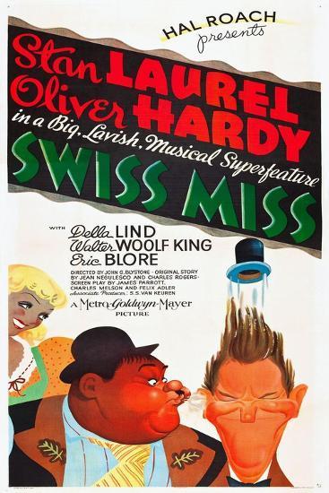 SWISS MISS, l-r: Oliver Hardy, Stan Laurel on poster art, 1938--Art Print