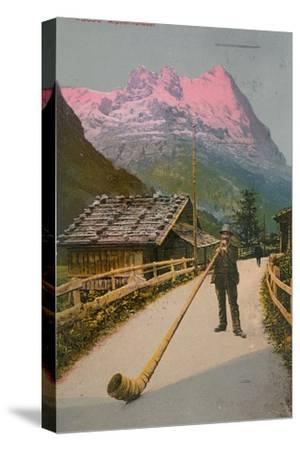 Postcard of an Alphorn Blower, Sent in 1913