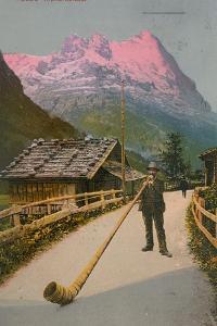 Postcard of an Alphorn Blower, Sent in 1913 by Swiss photographer
