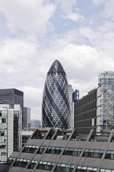 Swiss Re Tower by Architect Sir Norman Foster, 30 St Mary Axe, City of London, England, Uk-Axel Schmies-Photographic Print