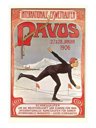 Swiss Speed Skating Poster, Davos--Art Print