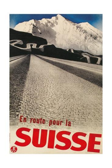 Swiss Travel Poster, Road to Alps--Giclee Print