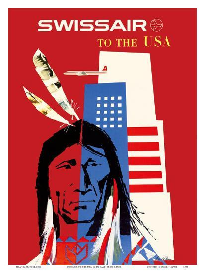 SwissAir to the USA - Native American-Donald Brun-Art Print