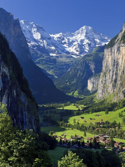 Switzerland, Bernese Oberland, Lauterbrunnen Town and Valley-Michele Falzone-Photographic Print