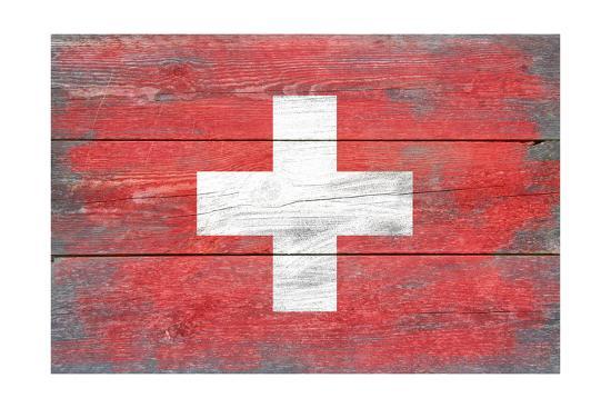 Switzerland Country Flag - Barnwood Painting-Lantern Press-Art Print
