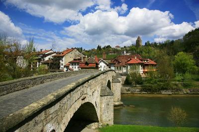 Switzerland, Fribourg on the Sarine River, on the Top Right the Tour Rouge-Uwe Steffens-Photographic Print