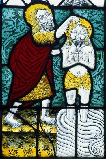 Switzerland, Gruyeres Castle, Detail of Stained-Glass Window Showing Baptism of Christ--Giclee Print