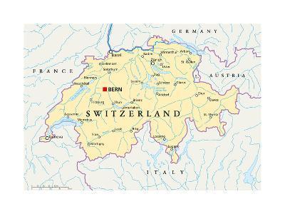 Switzerland Political Map-Peter Hermes Furian-Art Print