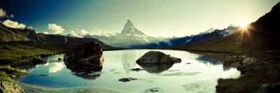 Switzerland, Valais, Zermatt, Lake Stelli and Matterhorn (Cervin) Peak-Michele Falzone-Photographic Print