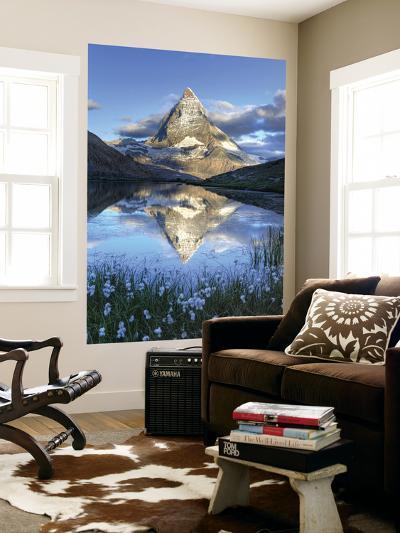 Switzerland, Valais, Zermatt, Matterhorn (Cervin) Peak and Riffel Lake-Michele Falzone-Wall Mural