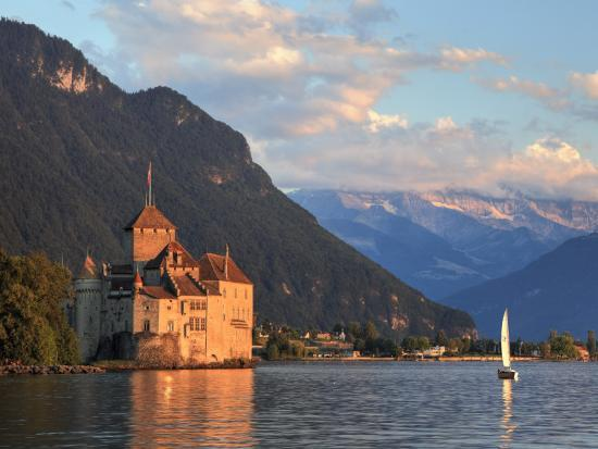 Switzerland, Vaud, Montreaux, Chateau De Chillon and Lake Geneva (Lac Leman)-Michele Falzone-Photographic Print