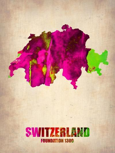 Switzerland Watercolor Map-NaxArt-Art Print