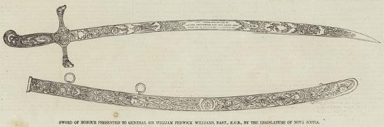Sword of Honour Presented to General Sir William Fenwick Williams--Giclee Print