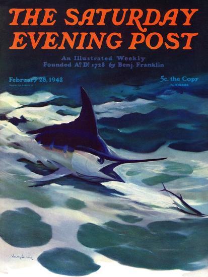 """Swordfish,"" Saturday Evening Post Cover, February 28, 1942-William Goadby Lawrence-Giclee Print"