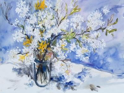 Wild Fruits and Forsythia Blossoms in Glass Vase, 2000