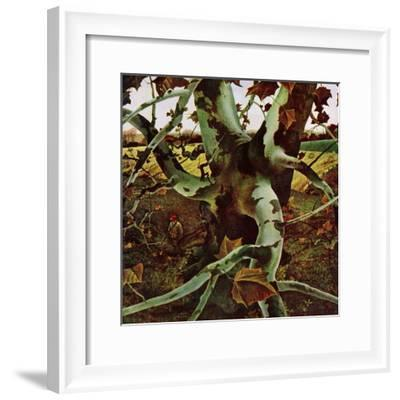 """Sycamore Tree and Hunter,"" October 16, 1943-Andrew Wyeth-Framed Giclee Print"