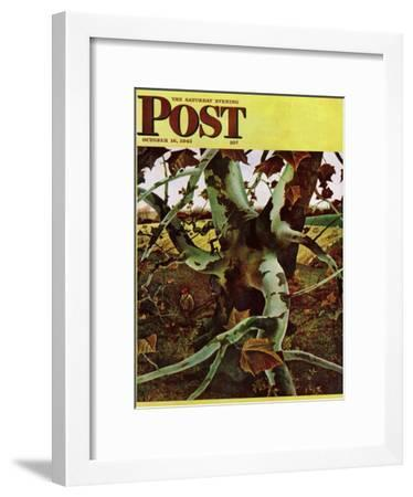 """""""Sycamore Tree and Hunter,"""" Saturday Evening Post Cover, October 16, 1943-Andrew Wyeth-Framed Giclee Print"""