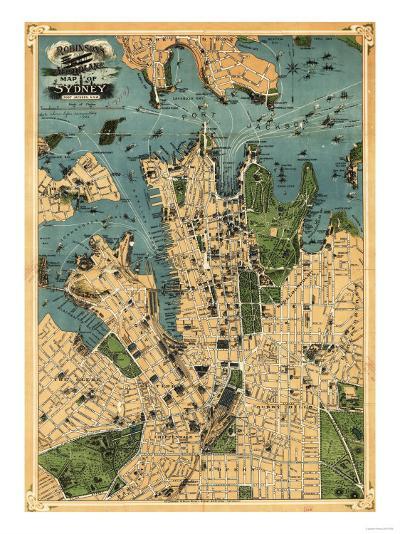 Sydney, Australia - Panoramic Map-Lantern Press-Art Print