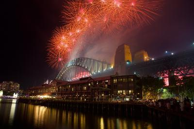 Sydney Harbour Bridge and New Years Eve Fireworks, Sydney, New South Wales, Australia, Oceania-Frank Fell-Photographic Print