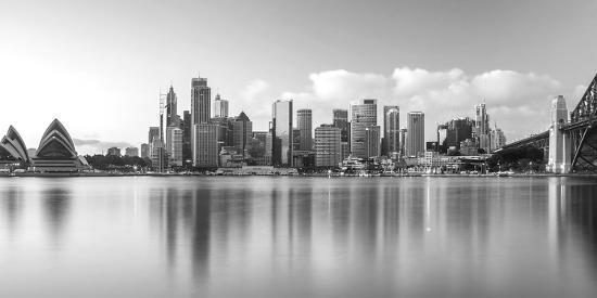 Sydney Harbour Bridge and Skylines at Dusk, Sydney, New South Wales, Australia--Photographic Print