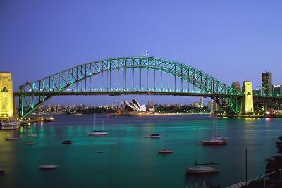 Sydney Harbour Bridge at Dusk with Opera House Behind-Design Pics Inc-Photographic Print
