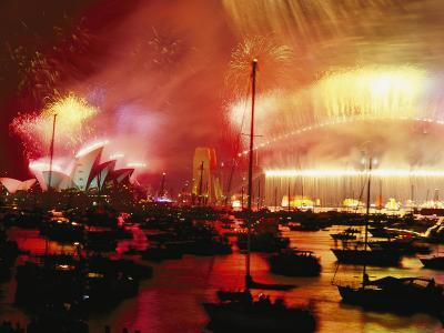 Sydney Harbour Explodes with Light and Sound During the 2000 New Years Celebration-Annie Griffiths-Photographic Print