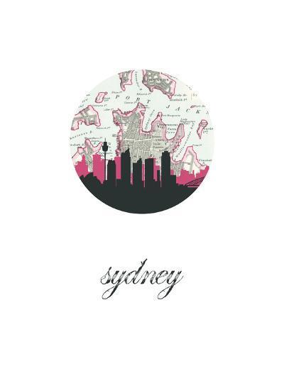 Sydney Map Skyline--Art Print