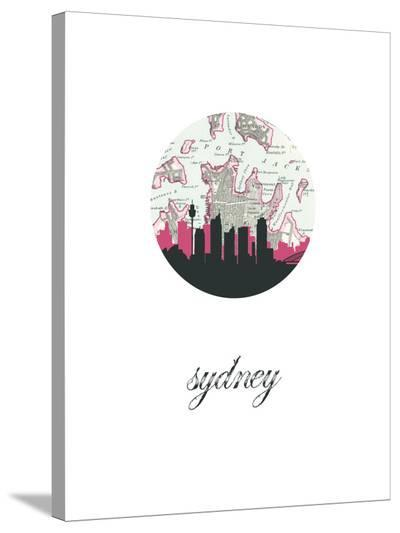 Sydney Map Skyline-Paperfinch 0-Stretched Canvas Print