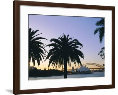 Sydney Opera House and Harbour Bridge at Dusk, Sydney, New South Wales, Australia-Fraser Hall-Framed Photographic Print