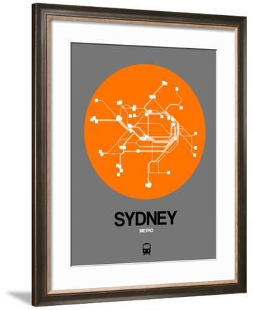 Sydney Orange Subway Map-NaxArt-Framed Art Print
