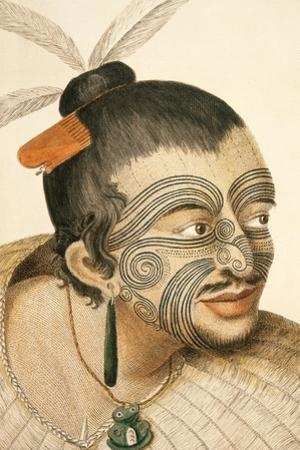 Portrait of a Maori Chief with Full Facial Moko, 1769 by Sydney Parkinson