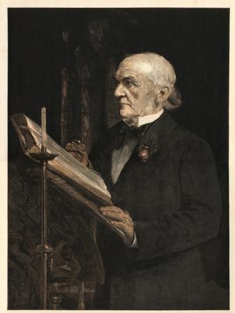 William Ewart Gladstone (1809-1898) English statesman, reading the Lesson in Hawarden Church